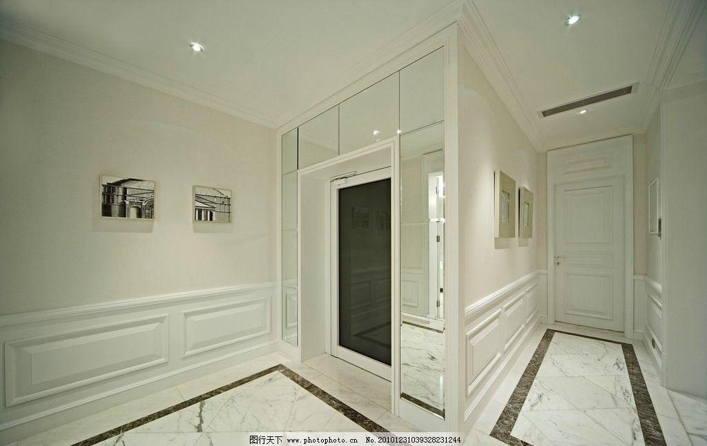 过道 别墅 样板房 家装 室内设计 拼合地面 挂画 镜面 装饰品 艺术品