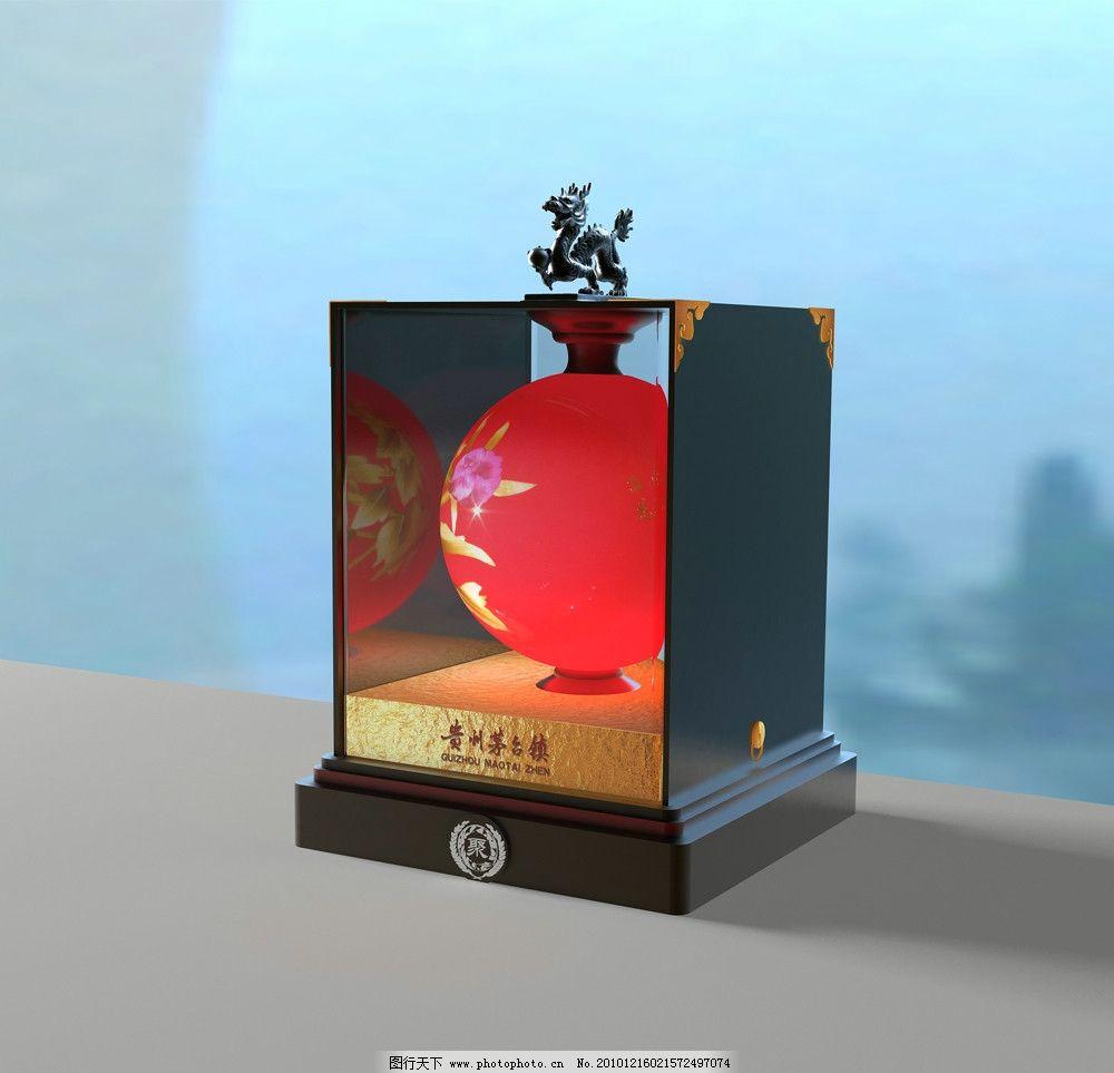 花瓶酒盒,牡丹,包装,花纹,金色,其他模型,3D设计模型